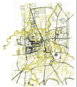 Fig. 7- Eva Chaudier - 2015 LECTURE DU LABYRINTHE ( articulation passé / présent/ devenir ), à partir des cartes de survey et de projet de la ville d'Indore