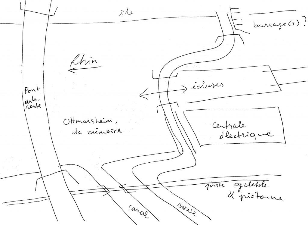 MEURSAULT Pali, Ottmarsheim de mémoire, dessin de l'artiste réalisé à l'occasion de la rédaction de l'article FAIVRE Jérémie, Field-Recording, identité et mémoire des lieux distordus, 2015