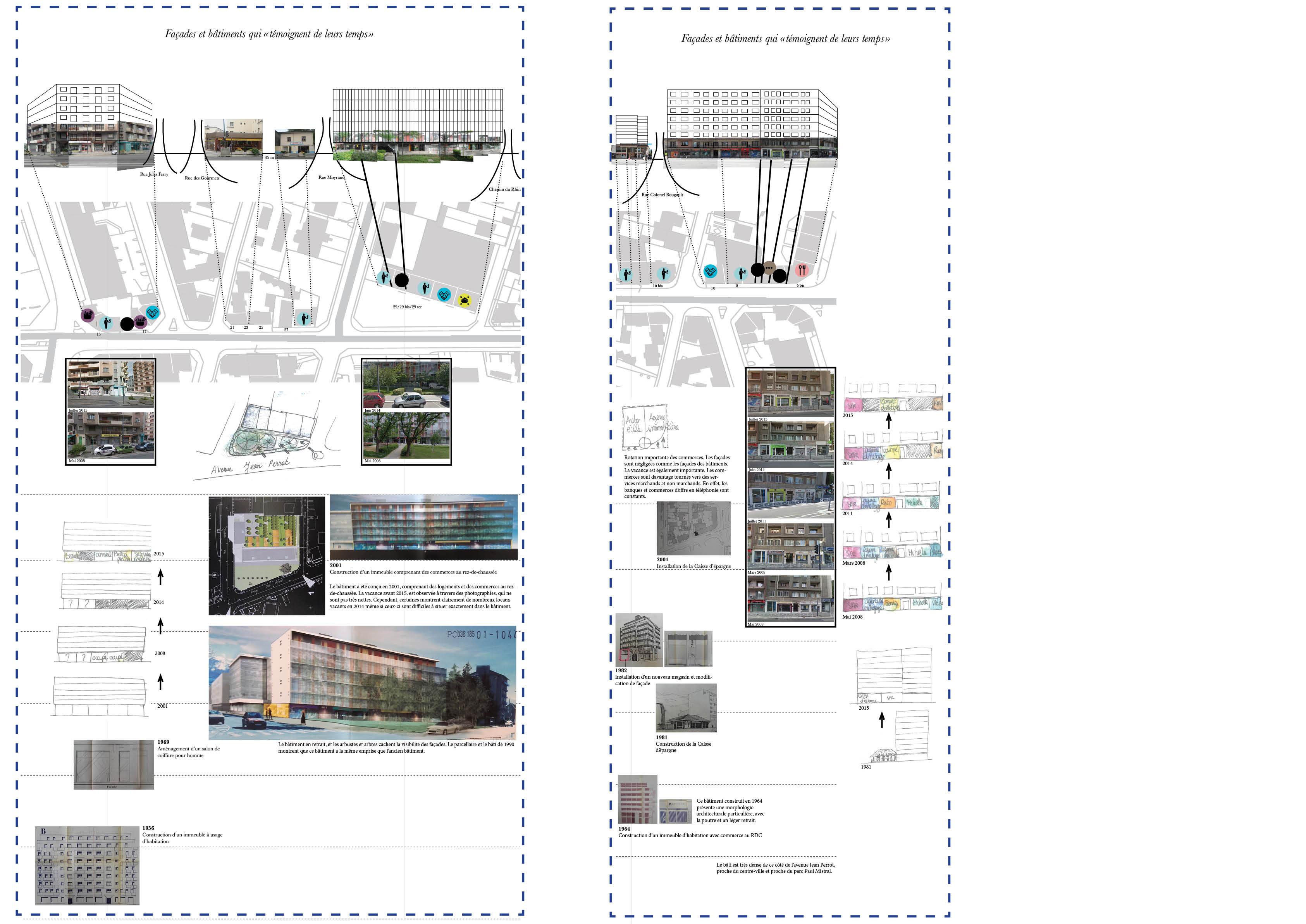 Figure 7 : Les bâtiments et façades «témoignent de leur temps» - Elodie Lamothe – Sources : cadastre.gouv.fr, Archives de Grenoble et Google Map