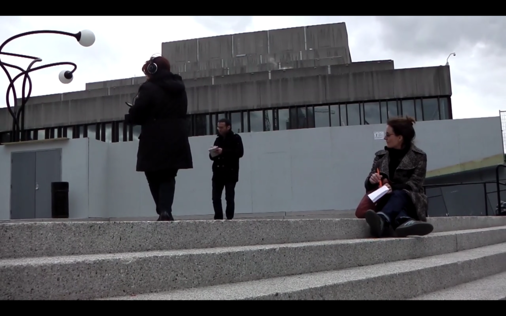 """Capture d'écran de la Petite fumée : Pascal Amphoux, Aurore Bonnet, """"La petite fumée"""", Montréal (CA), avril 2015. 2nd séminaire du GDRI """"Ambiances en traduction/Translating Ambiances""""."""