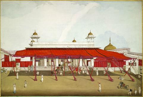 Illustration d'un exemple de bannes devant un pavillon (ici au Red Fort de New Delhi)