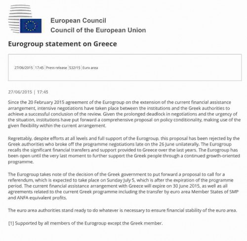A - Eurogroup Statement
