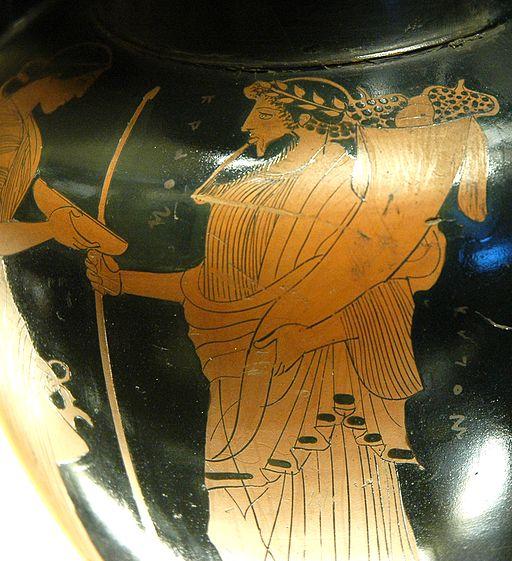 Hadès (à droite) avec sa corne d'abondance et Perséphone (à gauche). Musée du Louvre, Wikicommons