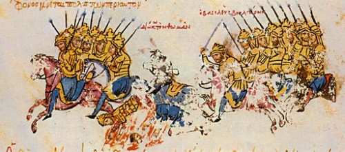 Cavaliers byzantins et bulgares, Manuscrit de Thomas Skylitzès, Madrid, f. 35 (Wikimedia)