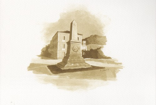Nauplie, Monument à la mémoire des Philhellènes. Gravure de M. Forlot extraite de l'album Monuments au fil du temps, Éditions Galerie d'Art de Nauplie et Ikona, Nauplie, 1996,