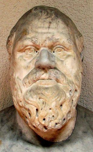 Buste de Socrate, copie romaine d'un orignial grec du IVe siècle, Musée archéologique de Palerme, cliché W. Delgado, Wikicommons